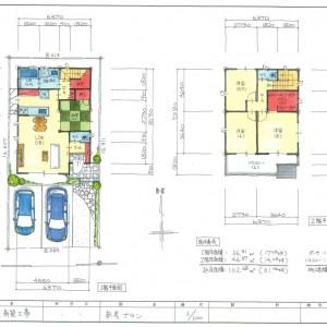 建物プラン例建物価格2275万円、建物面積102.68㎡㎡ 外構、地盤改良工事の暫定額160万円を含みます。登記代、借入経費、カーテン、照明、エアコン代は別途負担が必要となります。